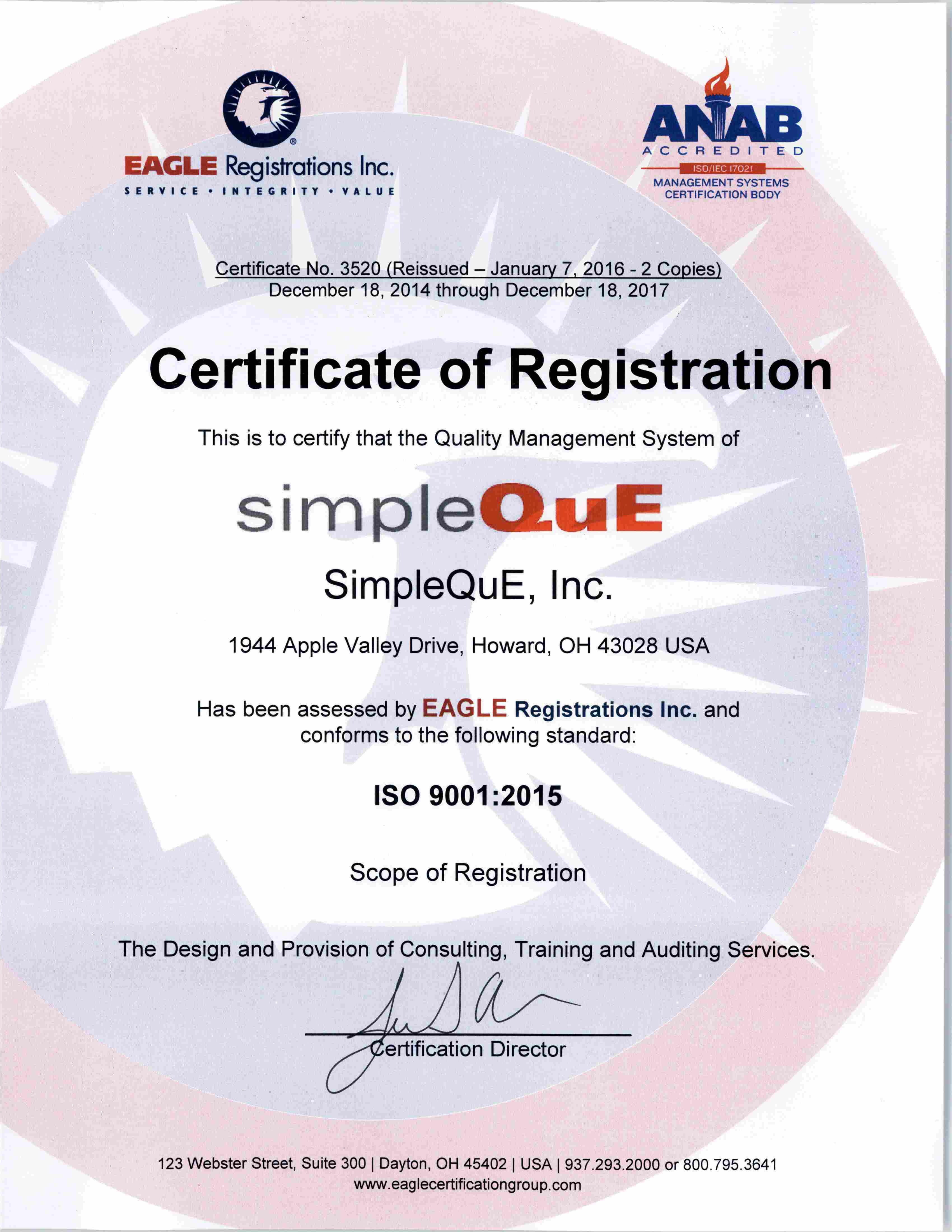 Simpleque iso9001 2015 certificate of registration simpleque 3520 simpleque iso9001 2015 1betcityfo Choice Image