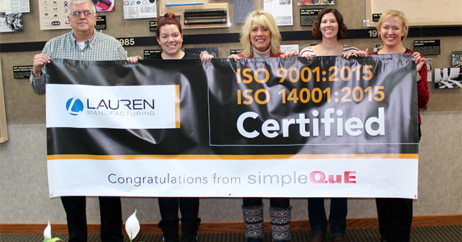 Lauren Manufacturing Achieves Quality and Environmental Management System Certifications