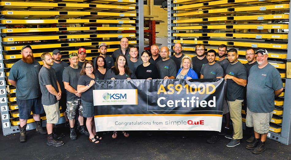 SimpleQuE congratulates KSM Metal Fabrication for AS9100D certification