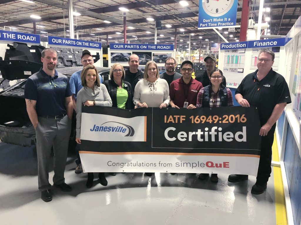 SimpleQuE congratulates Janesville on IATF 16949 Certification