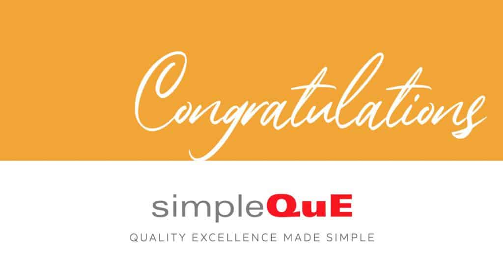 Congratulations from simpleQuE